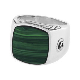David Yurman Sterling Silver with Malachite Inlay Signet Ring Size 9
