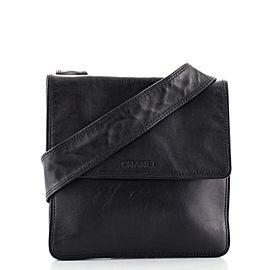 Chanel Vintage Logo Flap Messenger Bag Lambskin Small