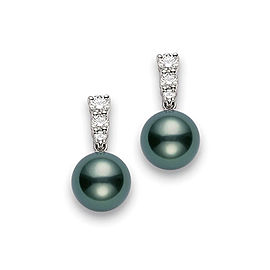 Mikimoto 18K White Gold Tahitian Pearl & 0.48ct. Diamond Earrings