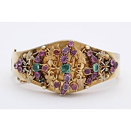 14K Yellow Gold with Emerald and Ruby Victorian Bangle Bracelet