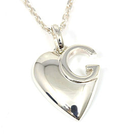 Gucci Sterling Silver Chain Heart Pendant Necklace CHAT-160