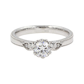 14K White Gold with 0.46ct Round Cut Diamond Milgrain Engagement Ring Size 6