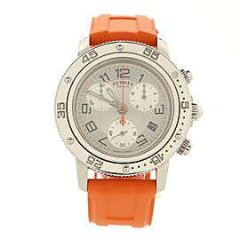 Hermes Clipper Diver Chronograph Quartz Watch Stainless Steel and Rubber 36