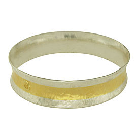 Gurhan 925 Sterling Silver & 24K Gold Layered Stacking Hourglass Bangle