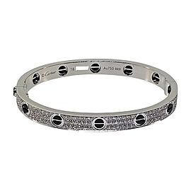 Cartier Love 18K White Gold & Ceramic Diamond Bracelet Size 18