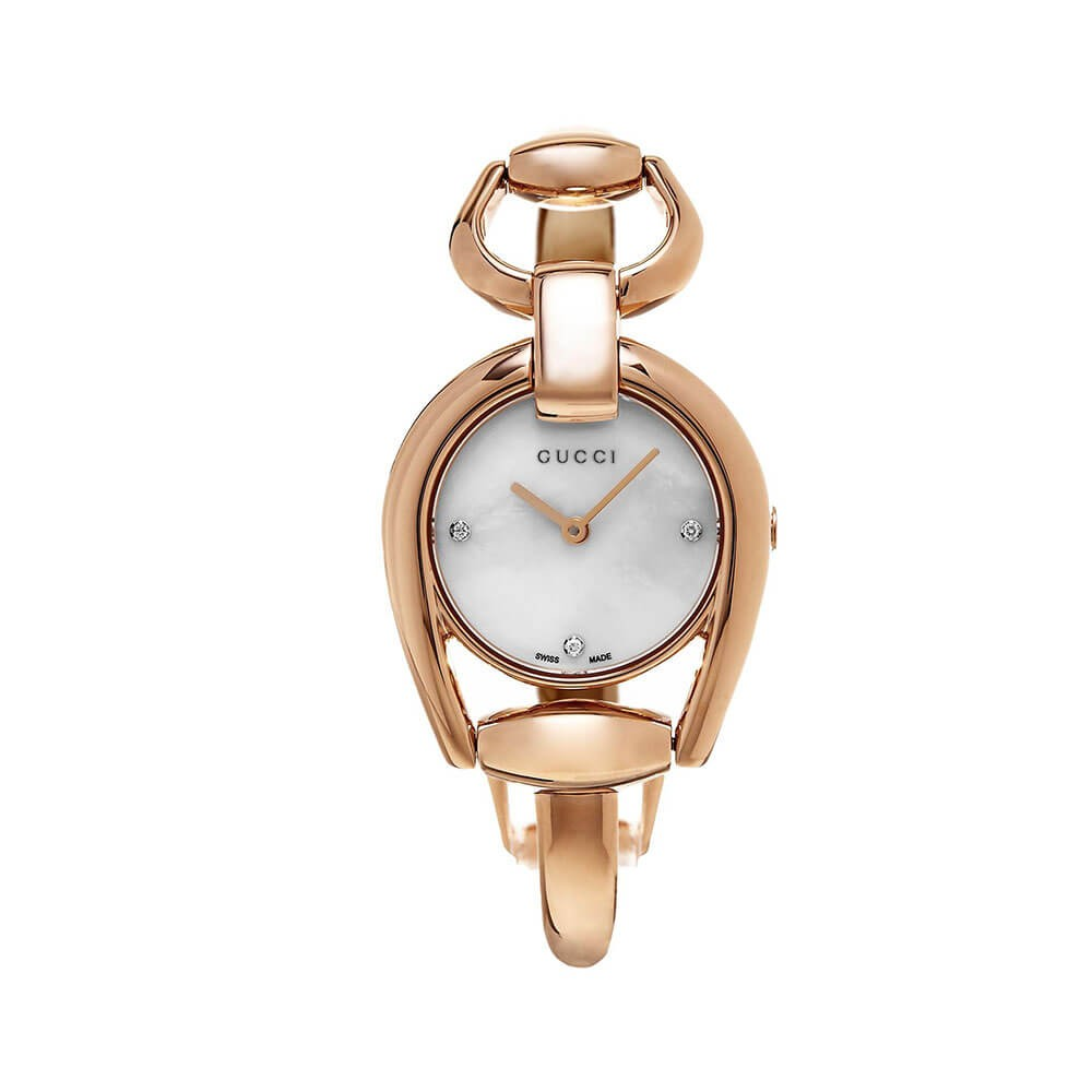 7006c435e66 Gucci Horsebit YA139508 Rose Gold-Tone Stainless Steel Mother of Pearl  Diamond Dial 28mm Watch