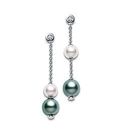 Mikimoto 18K White Gold Pearls Motion Earrings