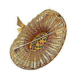 1960s Gold Turquoise Diamond Sapphire Sun Hat Brooch