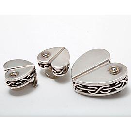 Kieselstein-Cord 925 Sterling Silver with Diamonds Set of Figural Heart Brooch & Earrings