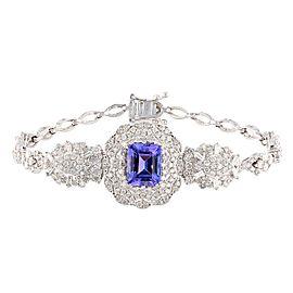 18K White Gold Tanzanite Diamond Bracelet