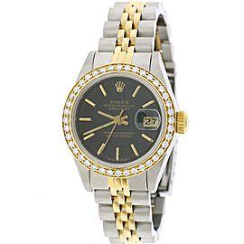 Rolex Datejust Ladies 2-Tone 18K Yellow Gold/Steel 26MM Factory Black Index Dial Jubilee Watch w/Diamond Bezel