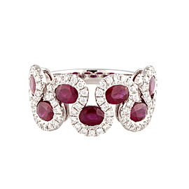 18k White Gold Ruby And Diamonds Ring