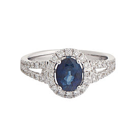 18k White Gold Diamond and 1.34ct Blue Sapphire Ring