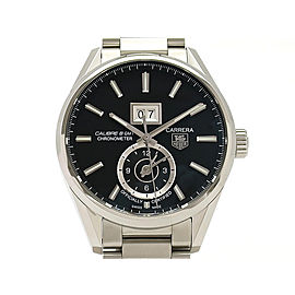 Tag Heuer Carrera Caliber8 Grand Date GMT WAR5010.BA0723 Stainless Steel 41mm Mens Watch