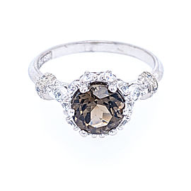 Tacori 18k White Gold 7mm Smoky Quartz & Diamond Ring