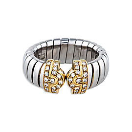 Bulgari Parentesi 18K White and Yellow Gold 0.35ctw Diamond Ring Size 5.75