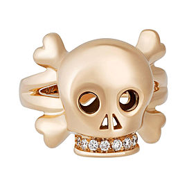 Christian Dior 18K Rose Gold 0.08ctw Diamond Skull Ring Size 6.25