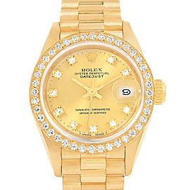 Rolex President Datejust 26 Yellow Gold Diamond Ladies Watch 69138