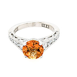 Tacori Reverse Present 18k White Gold 8mm Round Citrine & Diamonds Ring