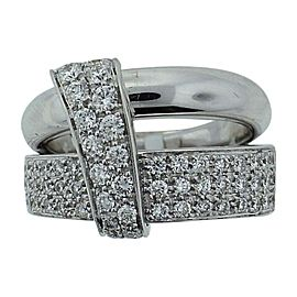Asprey London 18K White Gold Wedding Band Engagement Diamond Ring