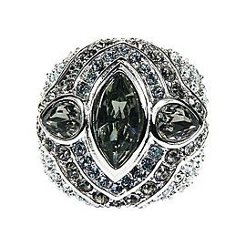Judith Leiber Silver Tone and Swarovski Crystals Ring