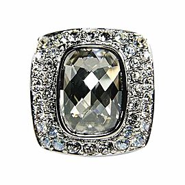 Judith Leiber Silver-Tone Smoky-Clear Swarovski Crystal Ring Sz 7.75