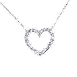 Tiffany & Co. 950 Platinum 0.57ctw Diamond Heart Necklace