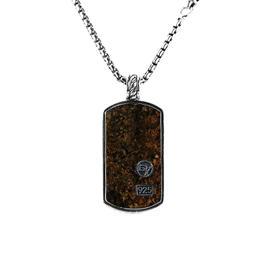 David Yurman Sterling Silver Bronzite Dog Tag Chain Necklace