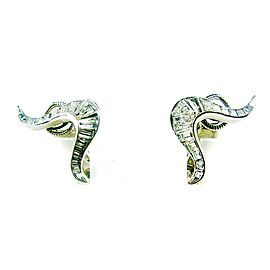 Harry Winston Platinum & Diamond Swirl Earrings W/Certificate