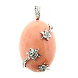 Asprey London Coral & Diamond 18K White Gold Pendant