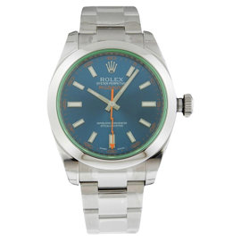Rolex Milgauss 116400GV Green Crystal Blue Dial Watch