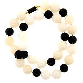 David Webb 18k Yellow Gold, Agath, Carved Onyx & Enamel Necklace