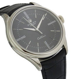 Rolex Cellini 50509 39mm White Gold Black Dial Watch