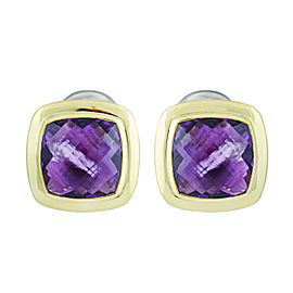 David Yurman Albion 18K Yellow Gold Sterling Silver Amethyst Earrings