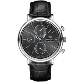 IWC IW391008 Portofino Chronograph Stainless Steel Black Dial Leather Watch