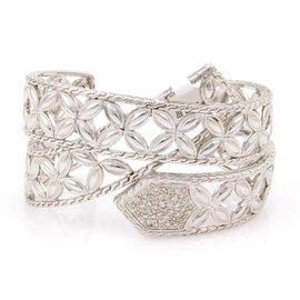 John Hardy Open Floral Design Diamond Sterling Silver Bracelet