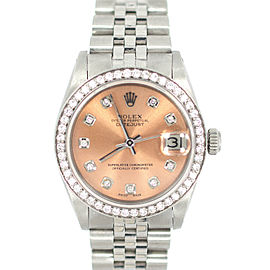 Rolex Datejust 6824 Stainless Steel Diamond Unisex Watch 33mm
