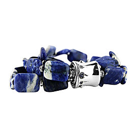 John Hardy Bamboo 925 Sterling Silver Blue Sapphire Blue & White Agate Bracelet