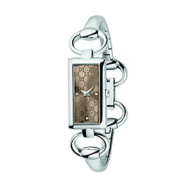 Gucci YA119508 Tornabouni Diamond Brown Dial Stainless Steel Womens Watch