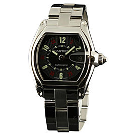 Cartier Roadster W62025V3 Large Steel Automatic Black Arabic Mens Watch