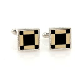 Louis Vuitton Sterling Silver Cavalier Onyx Square Plated Stud Cufflinks