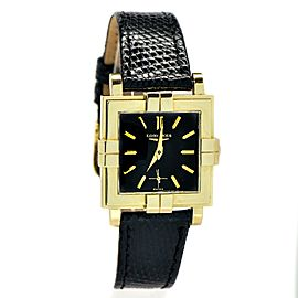 Longines Wittnauer 14K Gold Case Black Dial Quartz Mens Watch