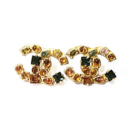 Chanel 18K Gold Plated Gemstones Piercing Earrings