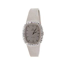 Omega 8442 Cal 625 DeVille Diamond 18K White Gold Womens Watch