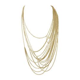 Gucci 18K Gold Multi-Strand Marina & Rolo Link Horsebit Closure Necklace