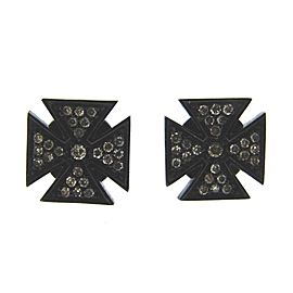 Lynn Ban Blackened Sterling Silver & Diamond Maltese Cross Earrings