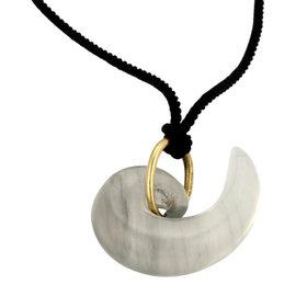 Tiffany & Co. 18K Yellow Gold Quartz Curve Black Silk Rope Vintage Necklace