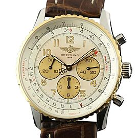 Breitling Navitimer D30022 White Brown Leather Automatic Womens 38mm Watch