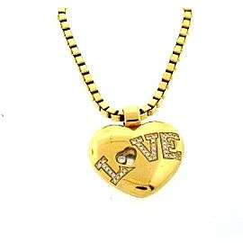 "Chopard 18K 750 Yellow Gold ""Love"" Heart Diamond Pendant Chain Necklace"