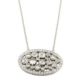 Tiffany & Co. Platinum Cobblestone Diamonds Oval Pendant Necklace